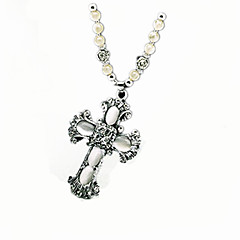 Women's Pendant Necklaces Statement Necklaces Opal Cross Opal Alloy Dangling Style European Statement Jewelry Beaded Silver Black/White