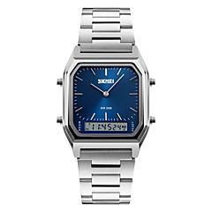 SKMEI Męskie Zegarek na nadgarstek Kwarcowy Cyfrowe LED Kalendarz Chronograf Wodoszczelny Trzy strefy czasowe alarm Stoper SrebrzystyStal
