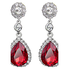 Drop Earrings Ruby Crystal Simulated Diamond Drop Red Jewelry Wedding Party Daily 1 pair