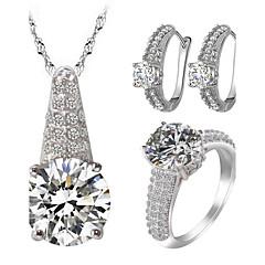 Feminino Conjunto de Jóias Gema Imitação de Diamante Amor Jóias de Luxo bijuterias Zircão Zircônia Cubica Strass Liga 1 Colar 1 Par de