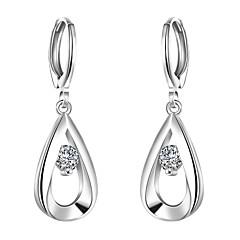 Kolczyki wiszące Cyrkonia minimalistyczny styl Modny Europejski Cyrkon Cyrkonia Miedź Posrebrzany Kropla Silver Biżuteria NaImpreza