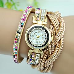 Damskie Modny Zegarek na bransoletce Kwarcowy sztuczna Diament Kryształ górski Kolorowy Skóra Pasmo Kwiat Z WisorkamiCzarny Biały