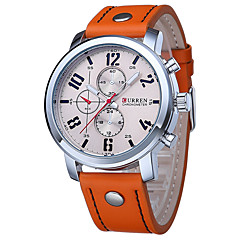 Men's Sport Watch Military Watch Dress Watch Fashion Watch Calendar Water Resistant / Water Proof Quartz Genuine Leather BandCasual