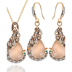 Jewelry 1 Necklace 1 Pair of Earrings Opal Daily Alloy 1set Women Gold Wedding Gifts