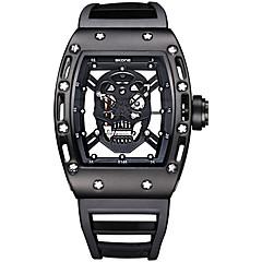 SKONE Men's Fashion Sport Watch Skeleton Wrist watch Unique Creative Watch Skull Quartz Water Resistant / Water Proof Luminous Luxury Watch