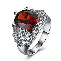 Sormus Cubic Zirkonia Zirkoni Kupari Titaaniteräs jäljitelmä Diamond Punainen Korut Päivittäin Kausaliteetti 1kpl