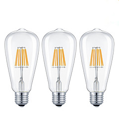 8W E26/E27 LED-glødetrådspærer ST64 8 COB 800 lm Varm hvid Kold hvid Justérbar lysstyrke Vekselstrøm 220-240 Vekselstrøm 110-130 V 3 stk.