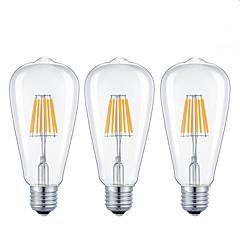 3 pcs-8W E26/E27 LED Filament Bulbs  8 COB 800 lm Warm White /Cool White Dimmable AC 220-240/ AC 110-130 V