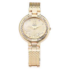Dames Modieus horloge Armbandhorloge Gesimuleerd Diamant Horloge Kwarts imitatie Diamond Legering Band Bloem Elegante horlogesZilver Goud