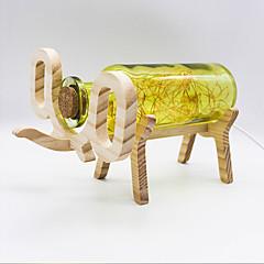 youoklight kreativa handgjorda glasflaska trä elefant ljus - gul / röd / blå