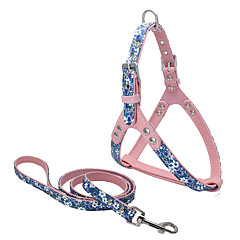 Dog Harness Leash Waterproof Adjustable/Retractable Handmade Soft Casual Solid Christmas Red Blue Gray PU Leather