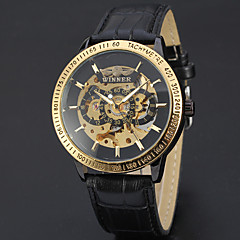 Herren Damen Unisex Sportuhr Kleideruhr Totenkopfuhr Modeuhr Armbanduhr Mechanische Uhr Automatikaufzug Echtes Leder BandBettelarmband