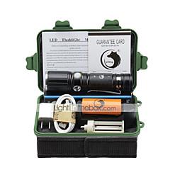 Belysning LED Lommelygter Lommelygtesæt LED 2000 Lumen 3 Tilstand Cree XM-L T6 18650 AAA 26650 Justerbart Fokus Klemme