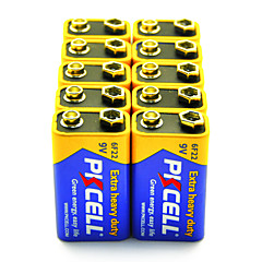 Pkcell 6F22 9V Carbon Zinc Battery 10 Pack Extra Heavy Duty