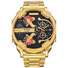 Heren Militair horloge Dress horloge Modieus horloge Polshorloge Kwarts Kalender Dubbele tijdzones Punk Grote wijzerplaat Roestvrij staal