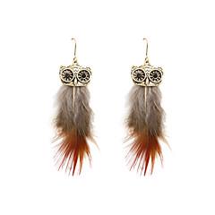 Fashion Women Owl Feather Drop Earrings