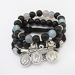 Strand Bracelet Glass Alloy Friendship Fashion Jewelry White Black Rainbow Blue Pink Jewelry 1pc