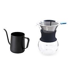# ml의 스테인레스 스틸 유리 커피 메이커 세트 , 브루 커피 만드는 사람 재사용 가능