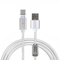 USB 2.0 Type C Flettet Magnet Kabel Til Samsung Huawei HTC LG Xiaomi 100 cm Nylon Aluminium