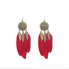 Vintage Women Enamel Feather Drop Earrings
