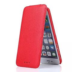 Mert Kártyatartó Flip Case Teljes védelem Case Egyszínű Kemény Valódi bőr mert Apple iPhone 6s Plus iPhone 6 Plus iPhone 6s iPhone 6