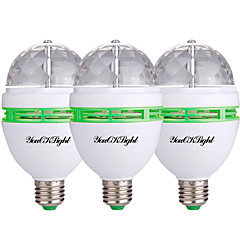 YouOKLight 3PCS E26/E27 3W 250Lm AC85-265V 3*High Power LEDs Automatic Rotating Colorful RGB Light  Lamp Bulb for Decoration KTV Party Bar