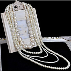 Mulheres colares em camadas Colar com Pérolas Formato de Cruz Pérola Multi Camadas Comprimento Longo Casamento bijuterias Jóias Para