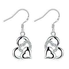 Kolczyki wiszące Kryształ Modny Posrebrzany Heart Shape Silver Biżuteria Na Ślub Impreza Halloween Codzienny Casual 1 para