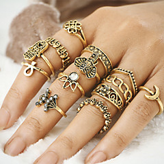 12Pcs/set Midi Rings Unique Design Vintage Bohemian Alloy Evil Eye Jewelry For Party Halloween Daily Casual 1 Set