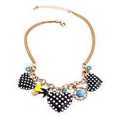 Women's Strands Necklaces Heart Chrome Cute Style Personalized Black Jewelry For Congratulations Graduation Gift 1pc