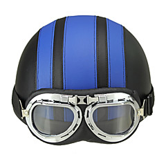 Motorcycle Helmet Open Face Visor Motocross Motor Helmets With Goggles Scarf Adjustable For Hare Retro Outdoor Cycling Blue
