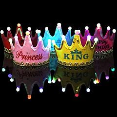 1本の光のledキャップの王女の誕生日パーティーの飾りクラウンは、子供の誕生日の帽子の祭典の装飾のramdonの色を導いた