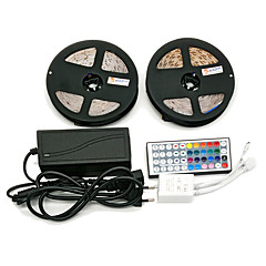 Z®zdm imperméable à l'eau 2 × 5m 300x3528 smd rgb led strip light et 44key télécommande 6a eu / au / us / uk alimentation (ac110-240v)