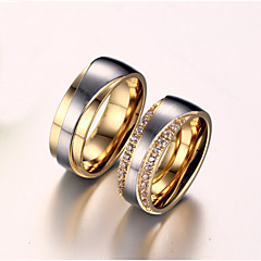Couple Rings AAA Cubic Zirconia Imitation Diamond Love Bridal Zircon Titanium Steel Gold Plated Love Golden Jewelry ForWedding