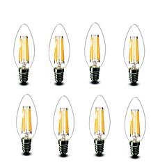 4.5W E14 Lâmpadas de Filamento de LED C35 6 COB 600 lm Branco Quente Decorativa AC220 AC230 AC240 V 8 Pças.