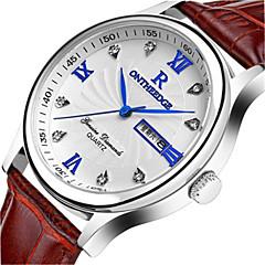 Masculino Relógio de Moda Quartzo Calendário Couro Banda Preta Prata Marrom