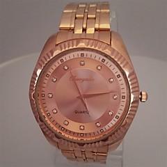 Heren Dress horloge Modieus horloge Polshorloge Kwarts Roestvrij staal Band Glitter Vrijetijdsschoenen Goud Rose