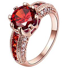 Dame Forlovelsesring Statement-ringe Ring Kvadratisk Zirconium Euro-Amerikansk kostume smykker Mode Personaliseret Sølv Guldbelagt
