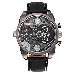 Oulm Heren Militair horloge Polshorloge Kwarts Japanse quartz Dubbele tijdzones PU Band Zwart Zwart