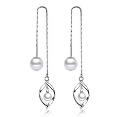Long Drop Earrings Unique Design Imitation Pearl Platinum Plated Leaf Silver Jewelry For Wedding Elegant