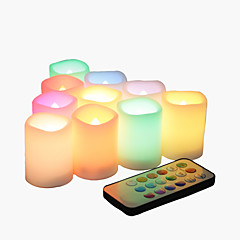 Set of 10 Color Changing Multi-color Flameless LED Votive Candles with Remote and Timer