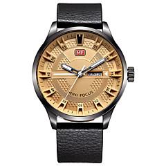 Heren Dress horloge Modieus horloge Kwarts Echt leer Band Vrijetijdsschoenen Zwart Bruin