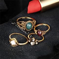 Fashion Vintage Bohemian Multicolor Turkish Flower Midi Rings Sets Punk Style Acrylic Crystal Party Rings for Women Anillos Man Jewelry
