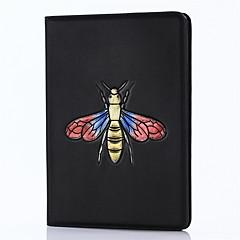 Til ipad 2017 9,7inch luksus ægte tilfælde cover kortholder med stativ flip præget mønster 3d tegneserie bier til ipad air 2 / ipad air1