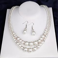 Női Menyasszonyi Ékszerek Gyöngyutánzat Duplarétegű jelmez ékszerek Gyöngy Round Shape 1 Nyaklánc 1 Pár fülbevaló 1 Karkötő Kompatibilitás
