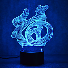Christmas Blessing Touch Dimming 3D LED Night Light 7Colorful Decoration Atmosphere Lamp Novelty Lighting Christmas Light