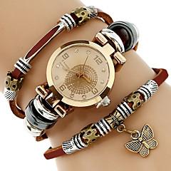 Genova Platinum Top Women Premium Genuine Leather Watch Triple Bracelet Watch Butterfly Charm Wristwatch Fashion Para Femme