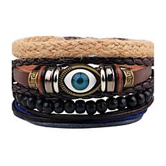 Heren Strand Armbanden Wikkelarmbanden Lederen armbanden Punk-stijl Verstelbaar PERSGepersonaliseerd Met de hand gemaakt Leder Hout Ronde
