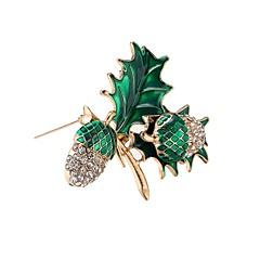 Erkek Kadın's Broşlar Elmas Moda Hipoalerjenik Klasik alaşım Leaf Shape Mücevher Uyumluluk Parti Doğumgünü Seramoni Noel