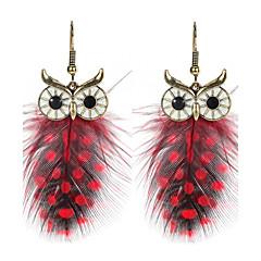 Dames Druppel oorbellen Sieraden Dierenontwerp Opvallende sieraden Chrismas Klassiek Elegant Veer Legering Wings Uil Sieraden Voor Feest